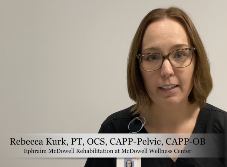 Rebecca Kurk addresses the camera on pelvic and obstetric physical therapy at Ephraim McDowell Health.