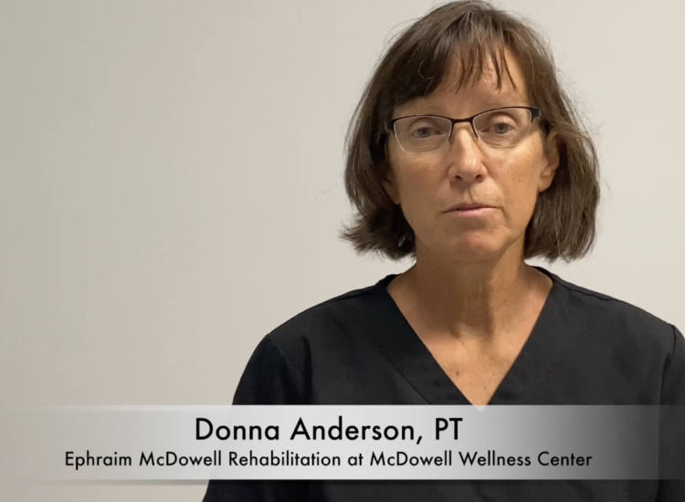 Donna Anderson, PT, address the camera on vestibular physical therapy.